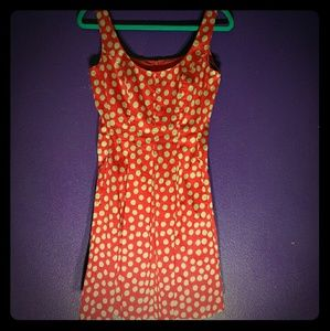 Red with beige spots dress